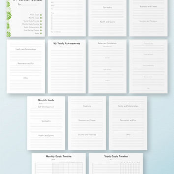 YEARLY GOALS KIT A4 Size Life Planner Printable Yearly projects Calendar Filofax Monthly Family Career Finance 13 docs Instant Download