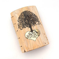 Wedding Guest Book Bridal Shower Wood Personalized Rustic Journal with Tree of Life and gold Heart
