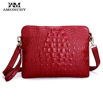 AMONCHY Genuine Leather Women's Shoulder Bags Alligator Cowhide Lady Messenger Bag Crocodile Handbags Clutches Bolsas Femininas