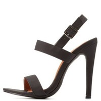 Black Strappy Slingback Dress Sandals by Charlotte Russe