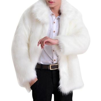 2017 male Faux Fur Fashion Hair Jacket Overcoat Lady Jacket Men's Faux Leather Luxury Jackets Men Parker Luxury Fur Coat Feature