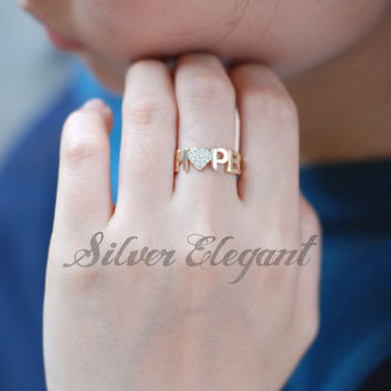 Diamond Name Ring - Initial Name Ring - Custom Ring - Tiny Ring - Adjustable Ring - Sterling Silver