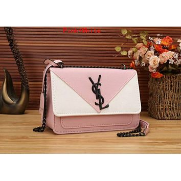 YSL Fashion Women Shopping Leather Metal Chain Crossbody Satchel Shoulder Bag Pink/White I-OM-NBPF