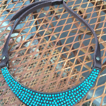 Turquoise Leather Collar Necklace