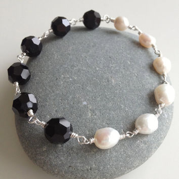 Black Swarovski  & White Pearl Bracelet and Earring Set,  Bracelet and Earring Set, Black and White Bracelet with Matching Earrings