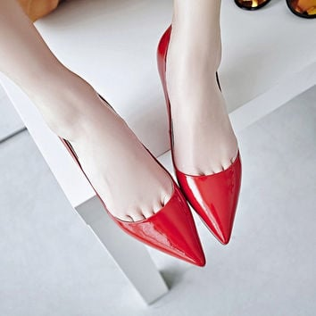 Summer Leather With Heel Pointed Toe Shoes [4919952196]