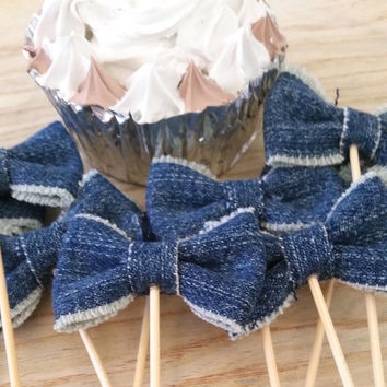 Denim Bows Cupcake Toppers, Cupcake Pick, Denim Party Decor for Birthdays, Baby Shower, Office Parties, Set of 12