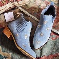 Starry Night Suede Boots in Sky