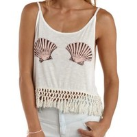 Ivory Seashell Graphic Fringe Tank Top by Charlotte Russe