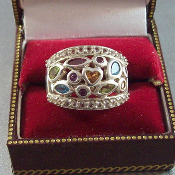 Vintage Sterling Diamond Cocktail Ring, Wide Band Gemstone Amethyst Blue Topaz Aquamarine Peridot etc