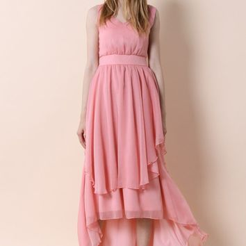 Ethereal Waterfall Chiffon Maxi Dress in Candy Pink