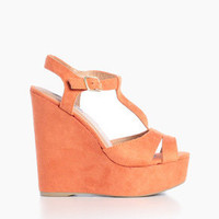 Suede Platform Wedges in Coral