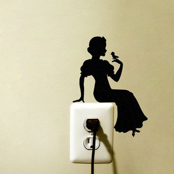 Snow White Velvet Decal - Princess Wall Decor - Fabric Wall Sticker