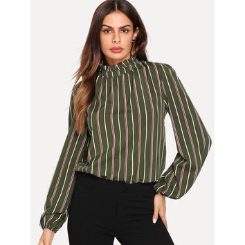 Frilled Collar Striped Top