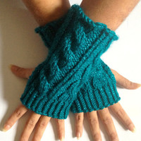 Fingerless Gloves Wrist Warmers in Teal Sparkle Handknit