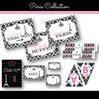 Paris Party Package Decor DIY Decoration Matching our Invitation pink black and damask eiffel tower banner labels cards water bottle labels