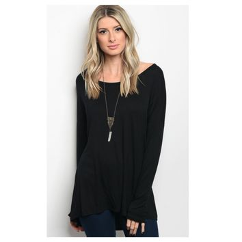 Always Adorable, Long Sleeve Black Tunic Top
