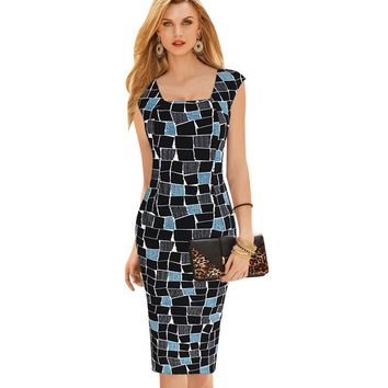 Vfemage Women's Elegant Square Neck Tunic Sleeveless Wear to Work Business Office Casual Bodycon Stretch Fitted Dress 307