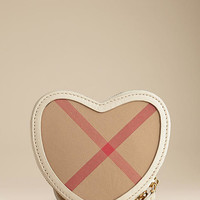 Heart-Shaped Check Crossbody Bag