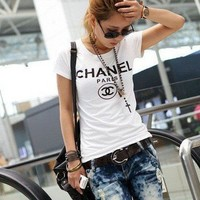 chanel t shirt cc logo short sleeve | amouna - Clothing on ArtFire