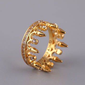 Gift New Arrival Stylish Shiny Accessory Diamonds Rivet Crown Jewelry Ring [4989642884]