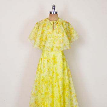 Vintage 70s Yellow Floral Dress Sheer Floral Print Dress Maxi Dress Chiffon Dress Cape Dress Ruffle 70s Dress 70s Hippie Dress Boho Dress M