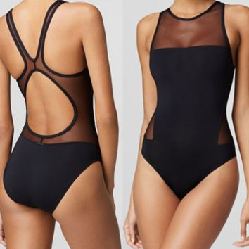 New summer fashion solid color Mesh vest one piece bikini swimsuit Black