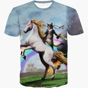 Rainbow Unicorn Cat All-Over-Print T-Shirt - Men's Short Sleeve Crew Neck Novelty Tops