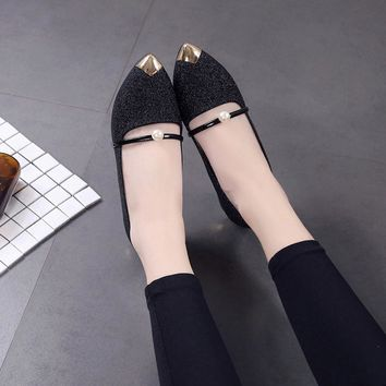 Women Pointed Toe Ladise Shoes Casual Low Heel Flat Shoes Low Heels Flat Shoes Square Heel Women Shoes
