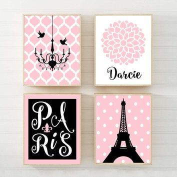 PARIS Wall Art,CANVAS or PrintsParis Eiffel Tower,Pink Black Monogram,Baby Girl Nursery Decor,Girl Bedroom Wall Decor,Paris Decor Set of 4