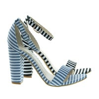 Frenzy20 Blue White By Bamboo, Retro Pinstrpe Chunky Block Heel Sandal, Open Toe Party Shoes
