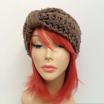 FREE SHIPPING - Crochet Knotted Turban Ear Warmer Headband - Speckled, Brown, Tan, Cream