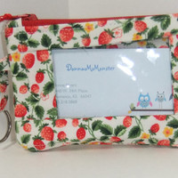 ID Wallet, Coin Purse, Zipper Closure, Made With Strawberry Fabric