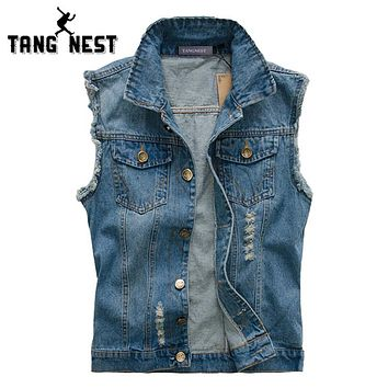 TANGNEST Plus Size 5XL Fashion Men Denim Vest 2018 Hot Sale Casual Cool Jeans Vest Slim Single-breasted Vest Popular Male MWB176