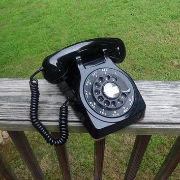 1954 Rare Vintage Rotary Dial Telephone in Cool Black, by Kellogg, Non-Removable Cords, Metal Dial, Vintage Dial Phone, Vintage Technology