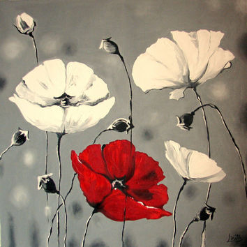 Canvas Print of Original Oil Painting White Poppies - Flowers - signed - Christmas gift