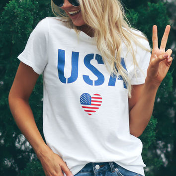 USA Graphic Tee Ivory