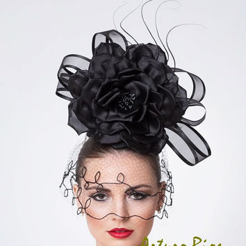 Black Couture Fascinator, Cocktail Hat with Vintage Veil