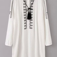 White Long Sleeve Embroidered Mini Shift Dress