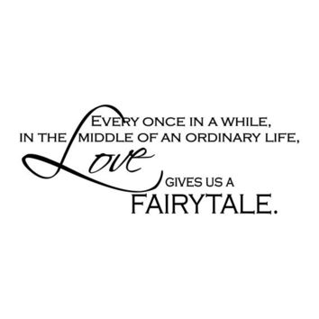 Love Gives Us A Fairytale - Vinyl Wall Quote Decal Lettering Decor - Romantic Bedroom Wall Art 11H x 28W LO006