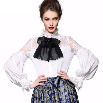 Womens High Quality Lantern Sleeve Stand Collar Lace Hollow out Office Ladies Shirt