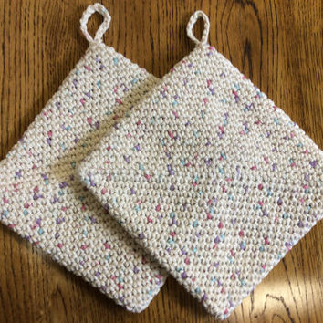 Pot holders, hot pads, set of 2, cotton, double thick, gift idea, party favor, game prize, crochet, shower gift,