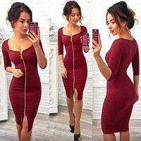 Women Sexy Club Low Cut Bodycon Dress Red Casual Autumn Winter Zipper Fashion Party Dresses Black Office Work designer clothes