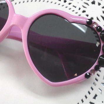 Pastel Goth Grunge Gothic Lolita Mermaid Sea Punk Rock Pin Up Pink Heart Sunglasses Black Spikes Rhinestone Decoden Deco Decorated