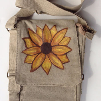 IPad Canvas Bag with Hand Painted Sunflower