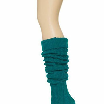 Thick Cable Knit Boot Socks - Deep Turquoise