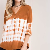 Tie-Dye Mandarin Collar Button Down Shirt