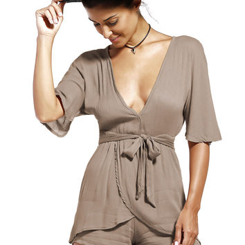 Ribbon V-Neck Romper 11166