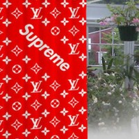 LV Louis Vuitton X Supreme  Trending Print Exclusive Waterproof Bathroom Shower Curtain High Quality I