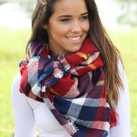 Burgundy Plaid Frayed Blanket Scarf